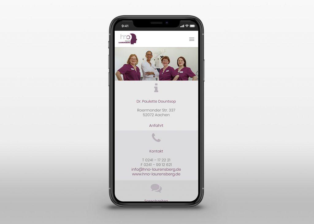 Neue Webseite mit Wordpress für die Praxis Laurensberg - Mobile View