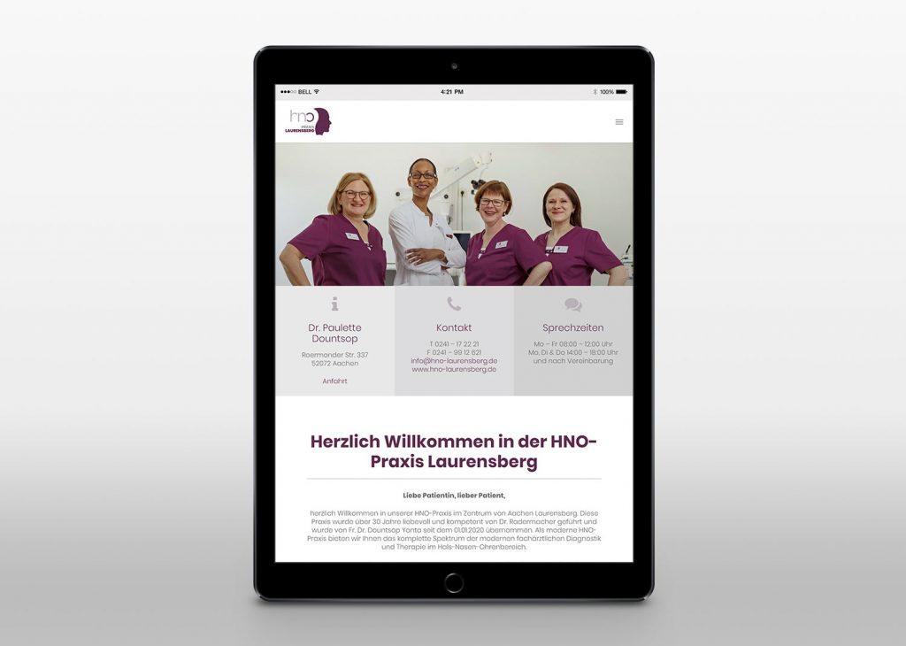 Neue Webseite mit Wordpress für die Praxis Laurensberg - Tablet View