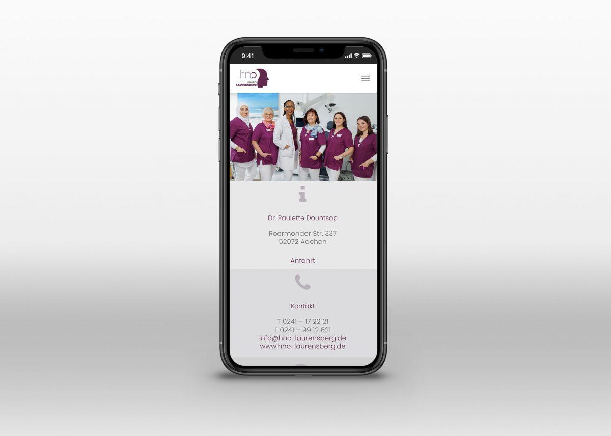 Neue Webseite für HNO Praxis Laurensberg in Aachen - Smartphone