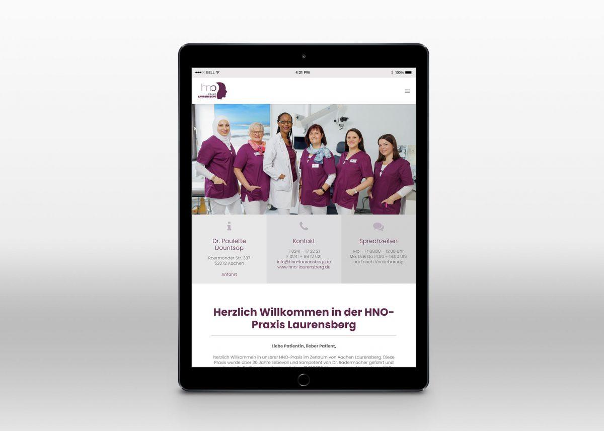 Neue Webseite für HNO Praxis Laurensberg in Aachen - Tablet